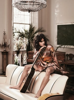 Silk pyjama shirt, £1,160, and boxing shorts, £365, by Louis Vuitton. Necklace, £150, by Annina Vogel.
