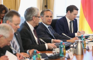 DRESDEN, GERMANY - MAY 28: British Chancellor of the Exchequer George Osborne (R) and Governor of the Bank of England Mark Carney (2nd from R) attend a working session during a meeting of finance ministers of the G7 group of nations on May 28, 2015 in Dresden, Germany. The G7 finance ministers are meeting ahead of the upcoming G7 summit at Schloss Elmau in June. (Photo by Sean Gallup/Getty Images)