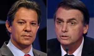 Fernando Haddad, left, of the Workers' party said on Tuesday his opponent Jair Bolsonaro represents 'the dross of the dictatorship'.