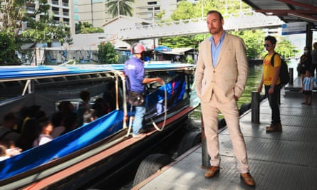 'Working here has been a way of reflecting on my own culture, and also on myself': Osborne catches  a water taxi in Bangkok.