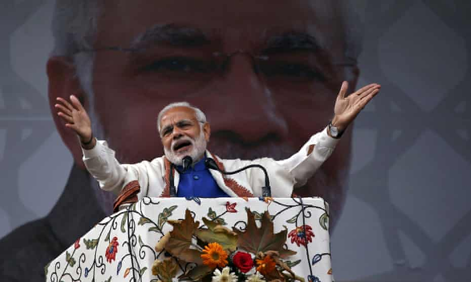 Narendra Modi, who until three years ago was banned from the UK.