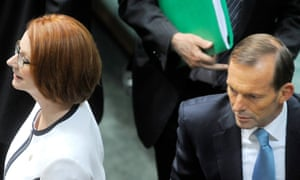 Tony Abbott with Julia Gillard, who lambasted him for making sexist comments.