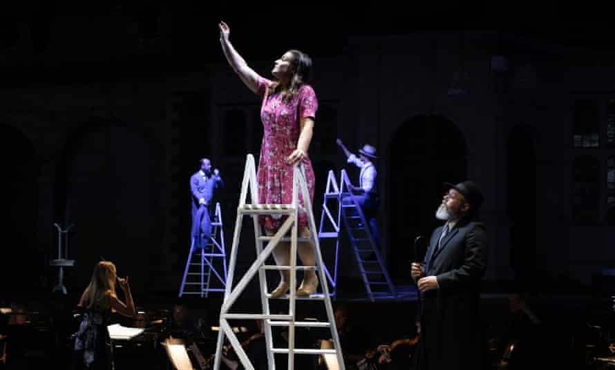Entranced … stepladders cleverly represent the cherry orchard where Suzel (Katie Bird) is spotted.