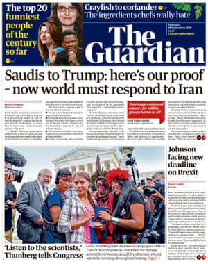 Guardian front page, Thursday 19 September 2019