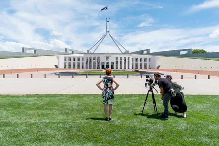 Australian film-maker Anna Broinowski films Pauline Hanson in front of Parliament House for her 2016 documentary Pauline Hanson: The Second Coming