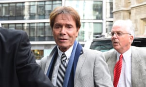 Sir Cliff Richard (centre) arrives for the continuing legal action against the BBC, London, April 2018.