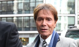 Cliff Richard arriving at the high court on Monday.