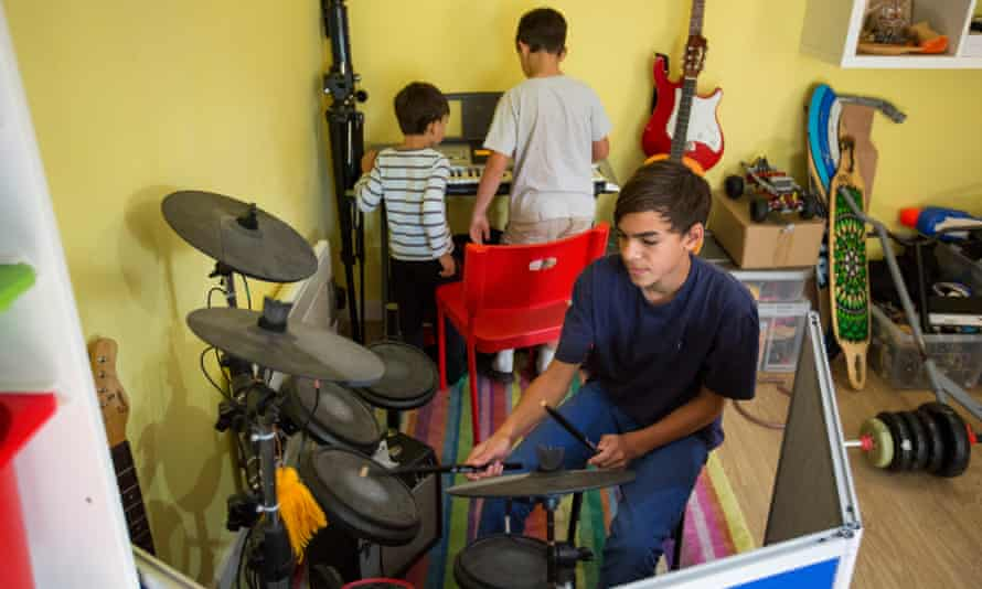 Josiah plays drums