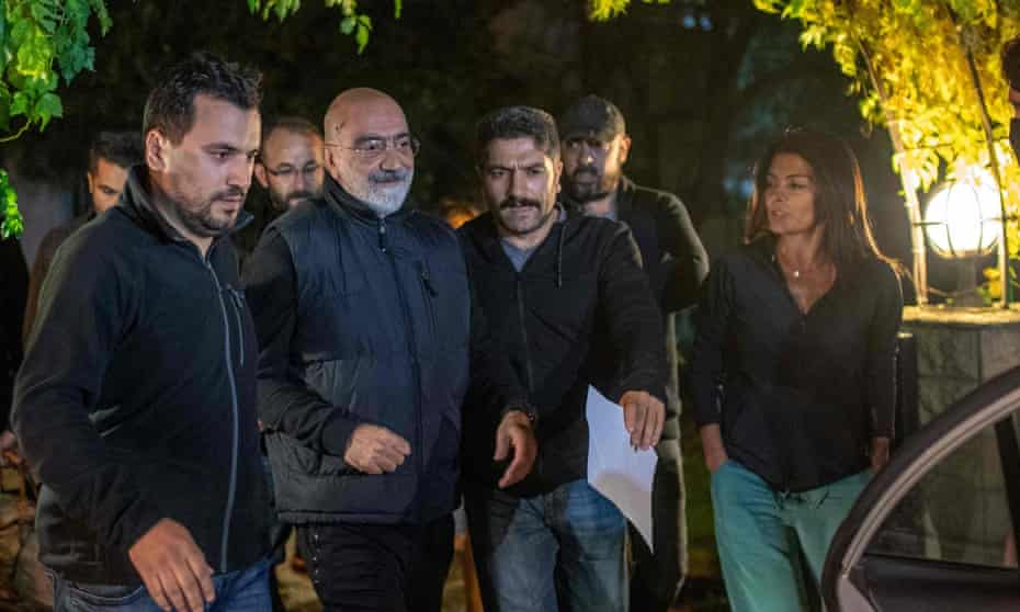 Ahmet Altan (centre) is detained again on 12 November 2019 in Istanbul.