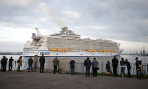 The world's largest cruise ship, Harmony of the Seas arrives in port for the first time in Southampton