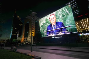 Nazarbayev on a big screen in Astana.