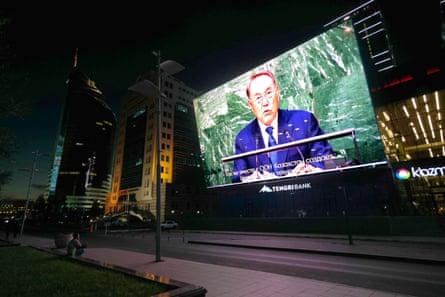 Nazarbayev on a big screen in Astana.