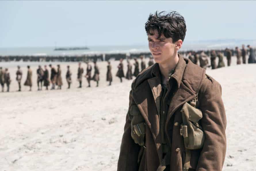 Fionn Whitehead on the beach in Dunkirk.