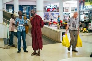 Buddharakkhita in a shopping mall in Kampala