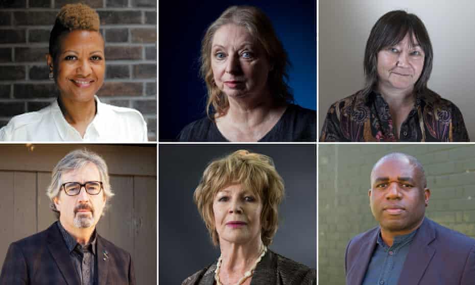 Clockwise: Sara Collins, Hilary Mantel, Ali Smith, David Lammy, Edna O'Brien and Sebastian Barry.