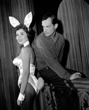 Hefner with a 'bunny girl', Bonnie J Halpin, at his nightclub in Chicago