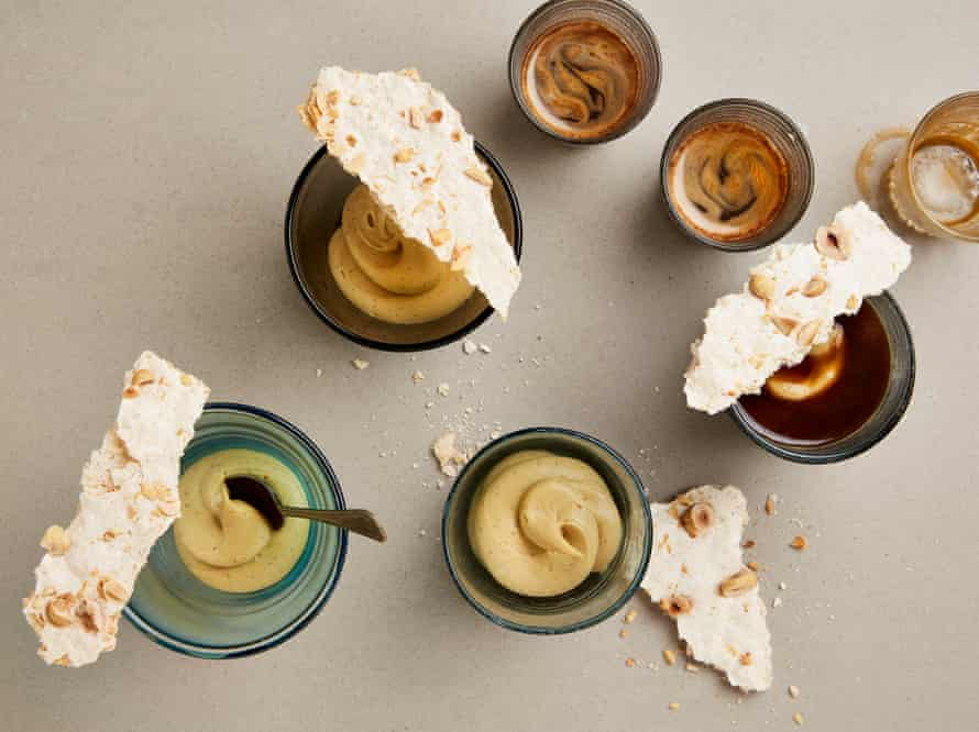 Yotam Ottolenghi's baked custard cream affogato with coconut and hazelnut meringue.