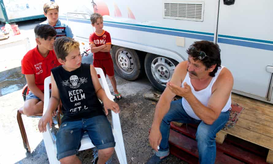 Stefano and some of his grandchildren in the Salone camp near Rome