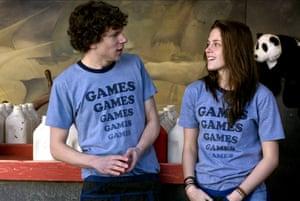 Actors Jesse Eisenberg and Kristen Stewart in the 2009 film Adventureland