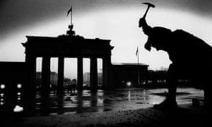 On top of the Berlin Wall at dawn on 10 November 1989
