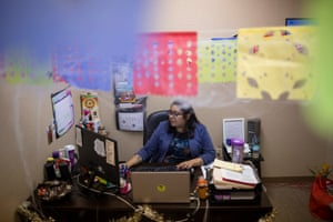 Luz Varela, a legal assistant, in her office.