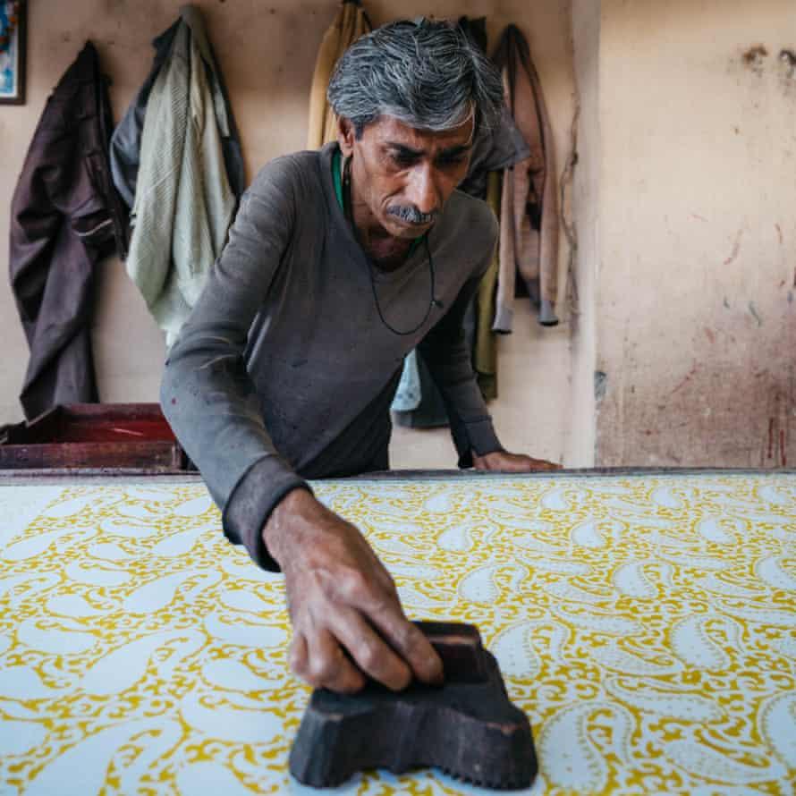 Wood-block printing at a Jaipur workshop.
