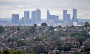 A view of the City of London financial district in London.