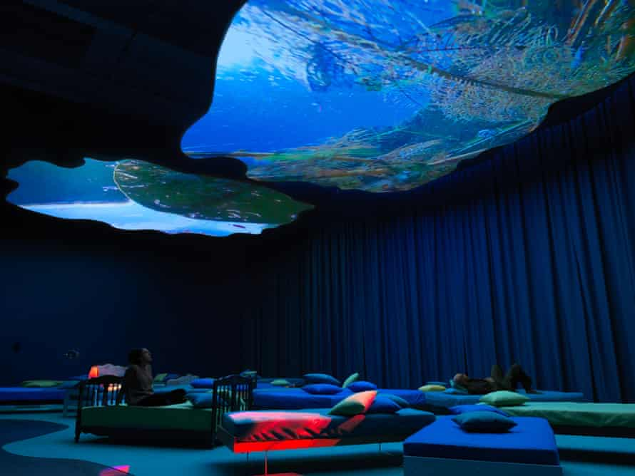 Soft yet gruelling … view Pipilotti Rist's projections from the safety of a bed.