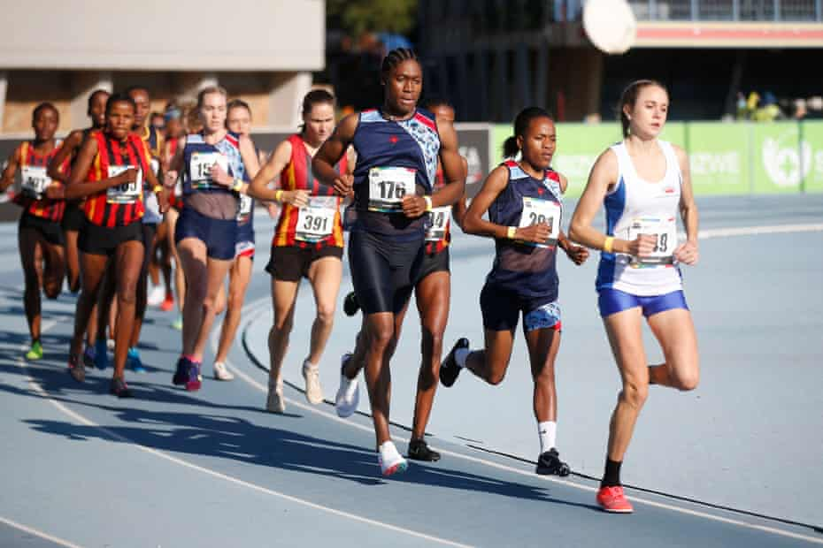 Caster Semenya (third from right) on his way to victory in the 5000m final at the South African Senior Athletics Championships held at the Tuks Athletics Stadium in Pretoria on April 15, 2021.