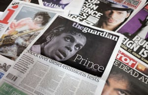 The Guardian newspaper used a purple tint on its masthead, along with other UK papers who made similiar tributes.