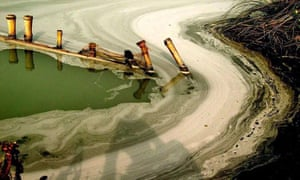 toxic industrial waste, polluting the Ganges river near Calcutta