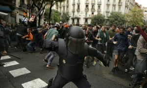 Police use force on Catalonian protesters