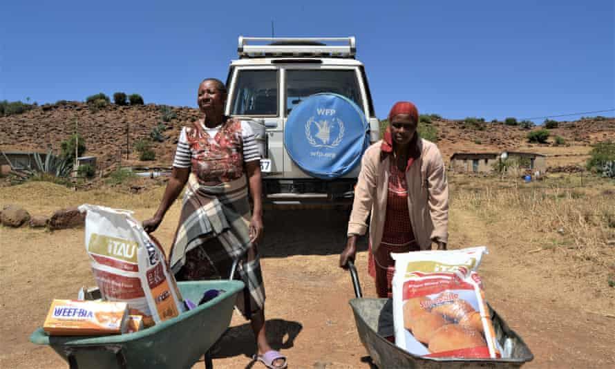 WFP food aid handouts in Mohale's Hoek, Lesotho