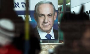 Election campaign billboard showing Benjamin Netanyahu in Jerusalem, Israel