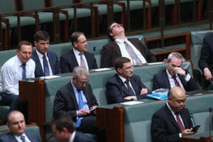 Tony Abbott, Angus Taylor, Greg Hunt and George Christensen during a division.