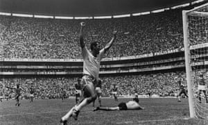 Brazil's Carlos Alberto celebrates after scoring his unforgettable goal against Italy in the 1970 World Cup final.