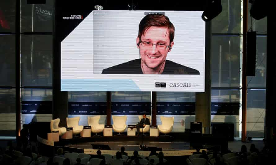 Snowden at a videoconference in Estoril in May 2017. Snowden wrote on Twitter: 'I never imagined that I would live to see our courts condemn the NSA's activities as unlawful.'