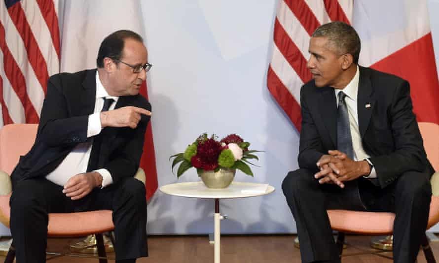 Francois Holland with Barack Obama