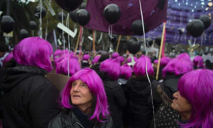 """Women take part in the """"Ni una menos"""" (Not One Less) march against femicides in Buenos Aires, on June 3, 2016."""