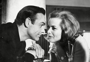 Connery And Honor Blackman during the filming of Goldfinger.