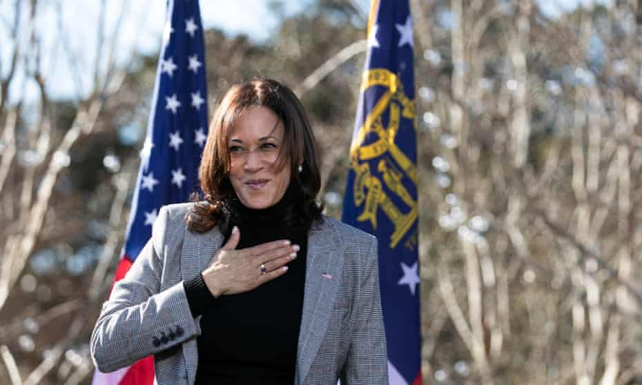 Harris campaigns for the Democratic candidates in the Georgia runoff elections for US Senate. If both win, Harris will wield the casting vote in the Senate.