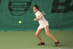 Eleven-year-old Emma Raducanu participates in the Open Super 12 girls' tournament in France in March 2014, where she reached the semi-final