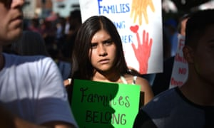 A march against immigrant family separation in downtown Los Angeles, California.
