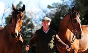 Colin Tizzard with Thistlecrack  and Cue Card at his farm near Sherborne, Dorset