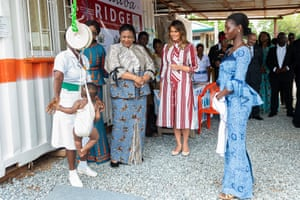Trump and Akufo-Addo meet mothers and children in the child welfare clinic at Greater Accra regional hospital