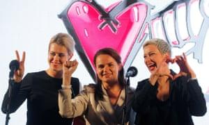 Veronika Tsepkalo, left, Svetlana Tikhanovskaya and Maria Kolesnikova attend an election campaign rally in Minsk, Belarus on 30 July.