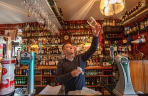 Publican Joe Sheridan poses for a photograph in his closed pub, Walsh's bar, in the rural village of Dunmore, west of Ireland, on 3 September, 2020.