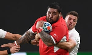 Billy Vunipola always seemed to end up being sucked into the orbit of Tonga's 25-stone roadblock of a prop, Ben Tameifuna, here being grabbed by George Ford.
