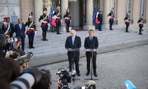Boris Johnson and Emmanuel Macron at the Elysee Palace in Paris