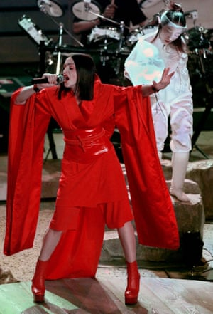 1999: Madonna performs Nothing Really Matters to open the Grammy awards. She arrived with little more than a bright red outfit and a Japanese dancer and she left with three Grammys for Ray of Light, including best pop vocal album